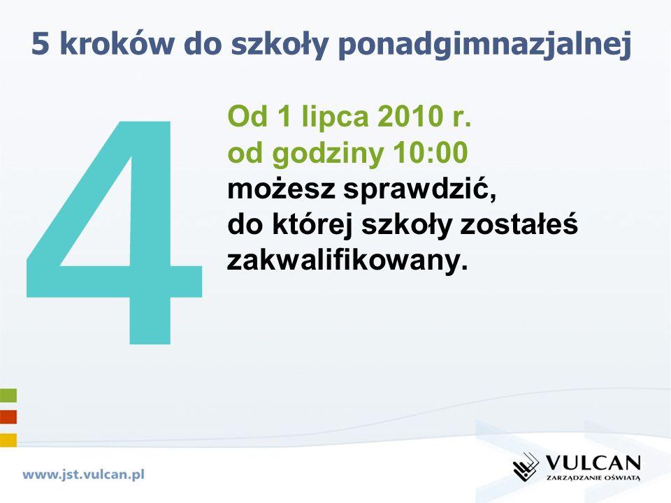 5 kroków do szkoły ponadgimnazjalnej Od 1 lipca 2010 r.