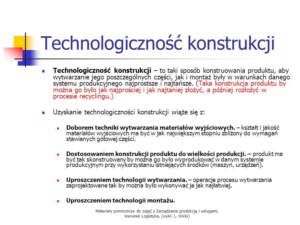 Materiały pomocnicze do zajęć z Zarządzania produkcją i usługami, kierunek Logistyka, (wykł. L. Wicki) Technologiczność konstrukcji Technologiczność k