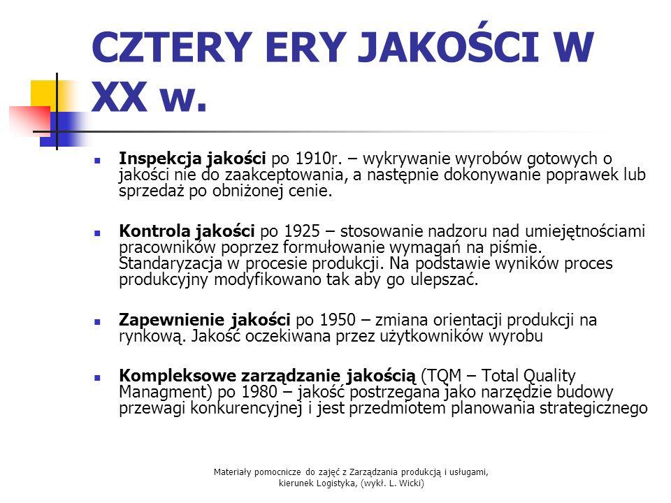 Materiały pomocnicze do zajęć z Zarządzania produkcją i usługami, kierunek Logistyka, (wykł. L. Wicki) CZTERY ERY JAKOŚCI W XX w. Inspekcja jakości po