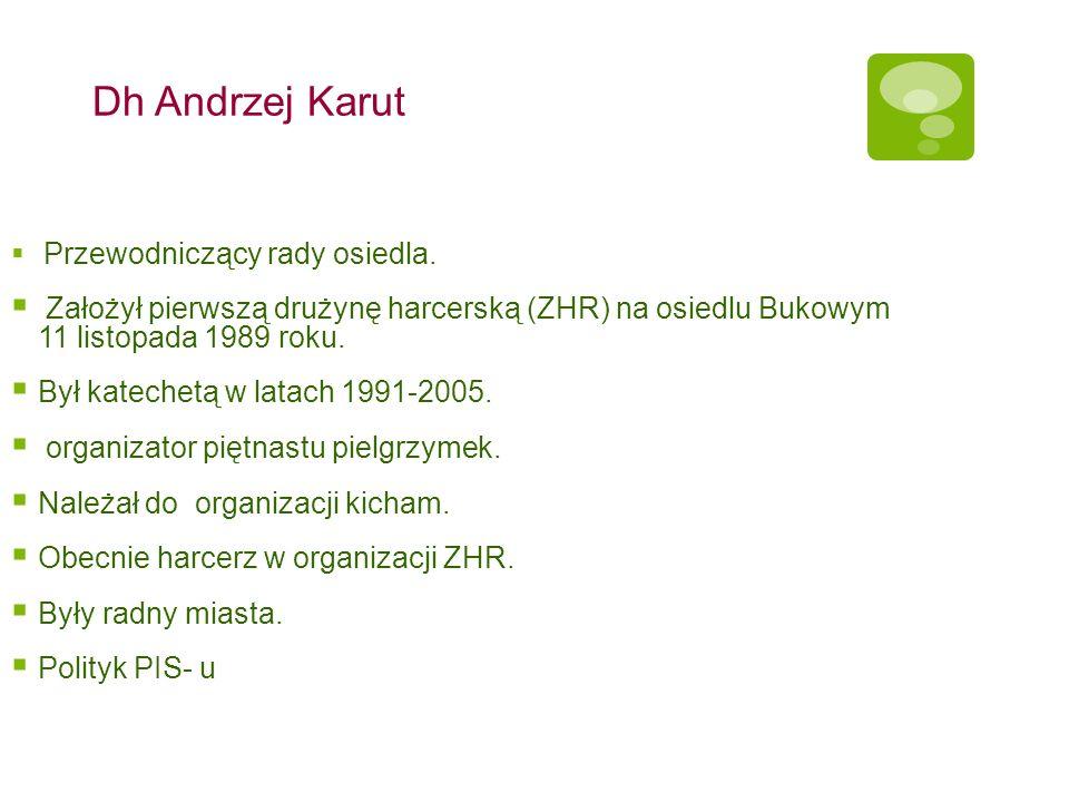 Dh Andrzej Karut Przewodniczący rady osiedla. Założył pierwszą drużynę harcerską (ZHR) na osiedlu Bukowym 11 listopada 1989 roku. Był katechetą w lata
