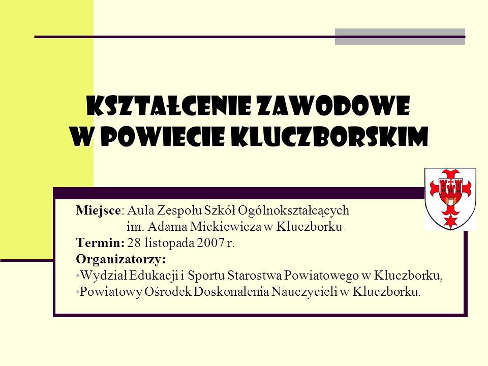KSZTAŁCENIE ZAWODOWE W POWIECIE KLUCZBORSKIM Miejsce: Aula Zespołu Szkół Ogólnokształcących im.