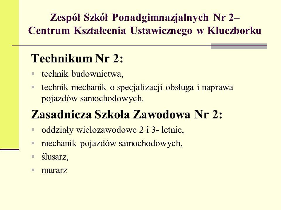 Zespół Szkół Ponadgimnazjalnych Nr 2– Centrum Kształcenia Ustawicznego w Kluczborku Technikum Nr 2: technik budownictwa, technik mechanik o specjaliza