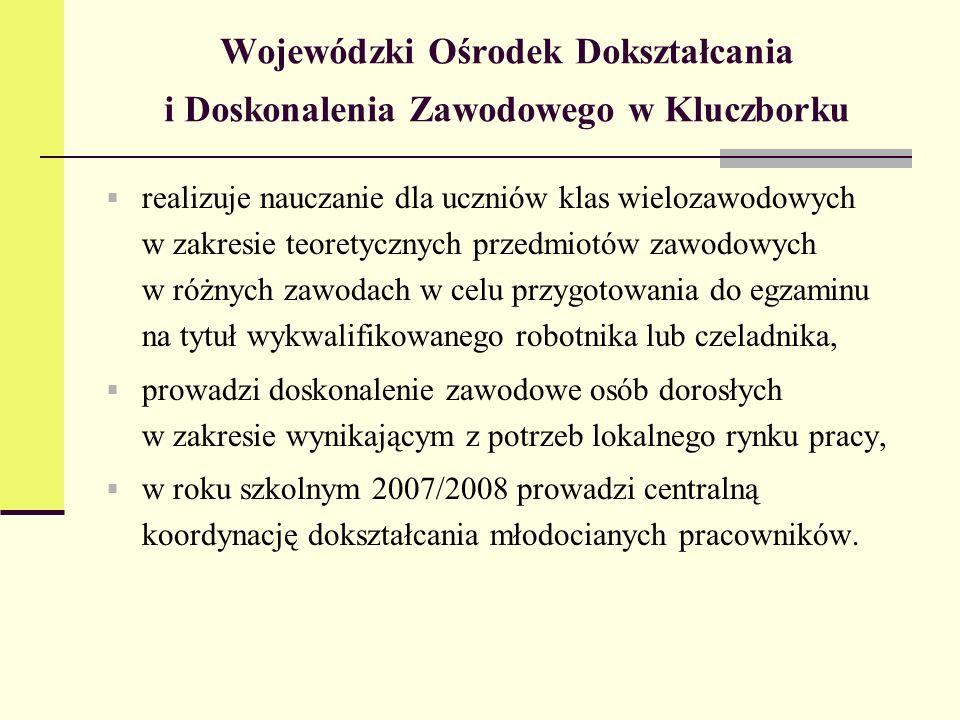 Wojewódzki Ośrodek Dokształcania i Doskonalenia Zawodowego w Kluczborku realizuje nauczanie dla uczniów klas wielozawodowych w zakresie teoretycznych