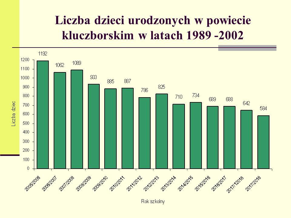 Liczba dzieci urodzonych w powiecie kluczborskim w latach 1989 -2002
