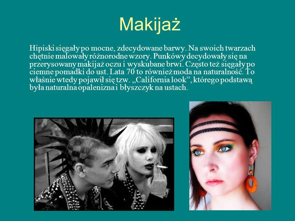 Makijaż Hipiski sięgały po mocne, zdecydowane barwy. Na swoich twarzach chętnie malowały różnorodne wzory. Punkówy decydowały się na przerysowany maki
