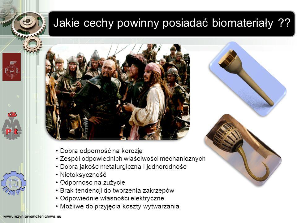 www.inzynieriamaterialowa.eu Jakie cechy powinny posiadać biomateriały ?? Dobra odporność na korozję Zespół odpowiednich właściwości mechanicznych Dob