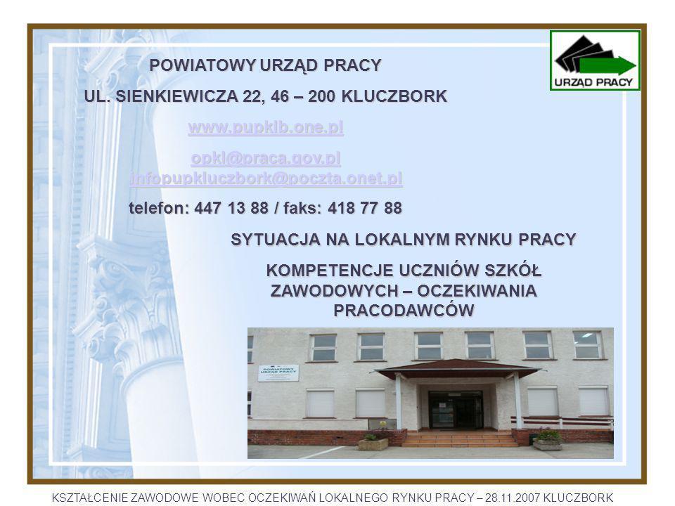 POWIATOWY URZĄD PRACY w KLUCZBORKU www.pupklb.one.pl opkl@praca.gov.plopkl@praca.gov.pl infopupkluczbork@poczta.onet.pl infopupkluczbork@poczta.onet.pl opkl@praca.gov.plinfopupkluczbork@poczta.onet.pl LICZBA BEZROBOTNYCH KSZTAŁCENIE ZAWODOWE WOBEC OCZEKIWAŃ LOKALNEGO RYNKU PRACY – 28.11.2007 KLUCZBORK