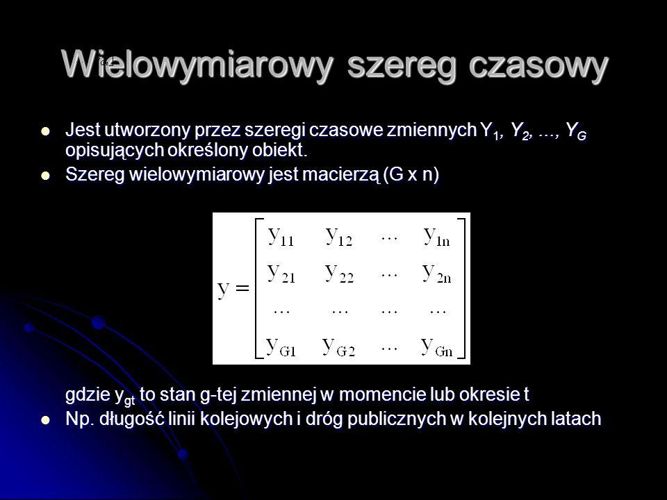 Wielowymiarowy szereg czasowy Jest utworzony przez szeregi czasowe zmiennych Y 1, Y 2,..., Y G opisujących określony obiekt. Jest utworzony przez szer