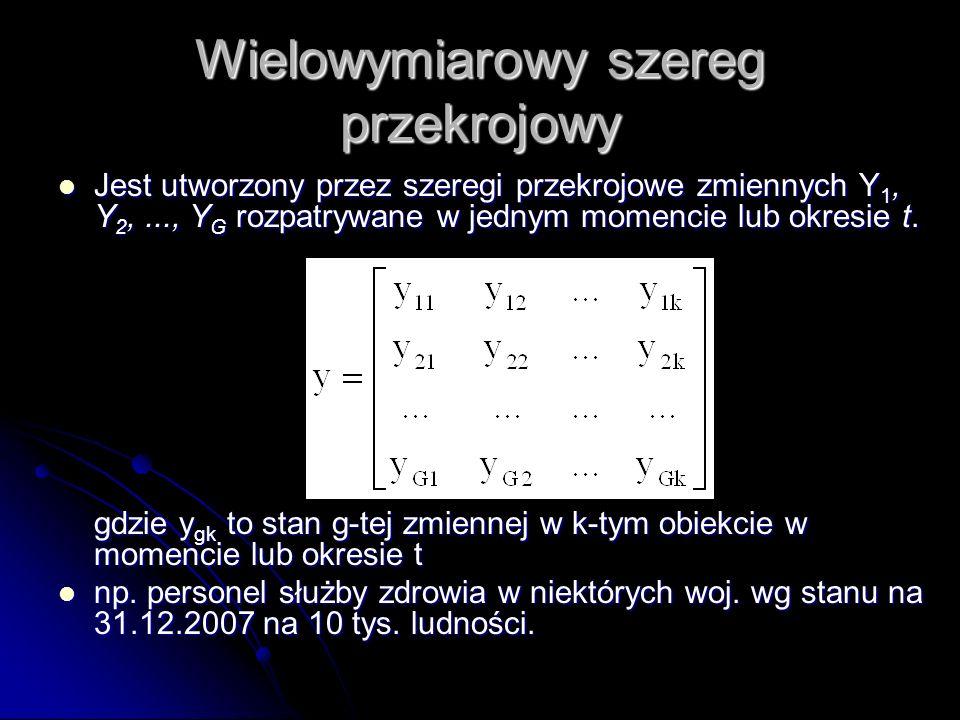 Wielowymiarowy szereg przekrojowy Jest utworzony przez szeregi przekrojowe zmiennych Y 1, Y 2,..., Y G rozpatrywane w jednym momencie lub okresie t. J
