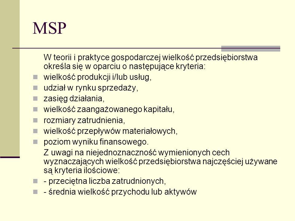 MSP W teorii i praktyce gospodarczej wielkość przedsiębiorstwa określa się w oparciu o następujące kryteria: wielkość produkcji i/lub usług, udział w
