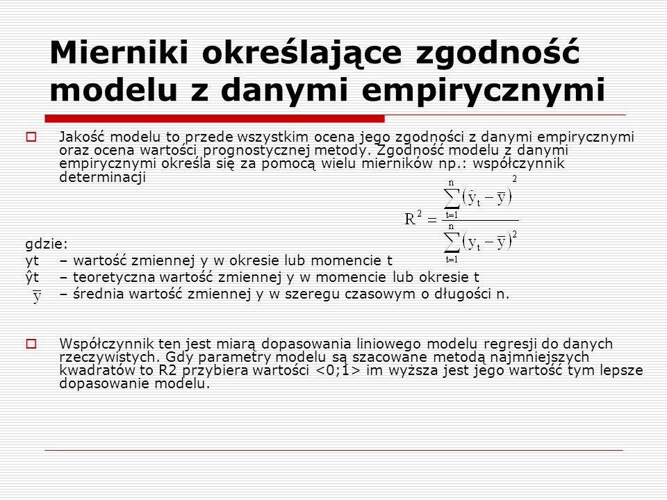 Mierniki określające zgodność modelu z danymi empirycznymi Jakość modelu to przede wszystkim ocena jego zgodności z danymi empirycznymi oraz ocena war
