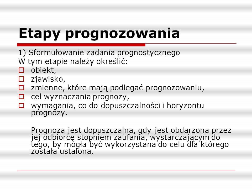 Etapy prognozowania 1) Sformułowanie zadania prognostycznego W tym etapie należy określić: obiekt, zjawisko, zmienne, które mają podlegać prognozowani