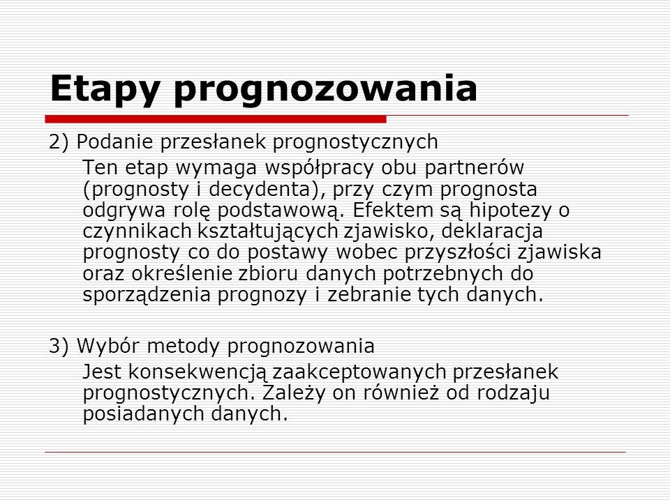 Etapy prognozowania 2) Podanie przesłanek prognostycznych Ten etap wymaga współpracy obu partnerów (prognosty i decydenta), przy czym prognosta odgryw