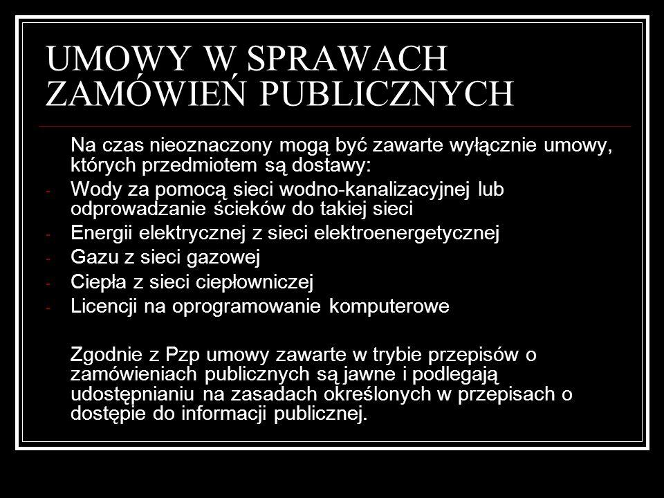 UMOWY W SPRAWACH ZAMÓWIEŃ PUBLICZNYCH Z zastrzeżeniem przepisów odrębnych umowa jest nieważna, jeżeli: 1.