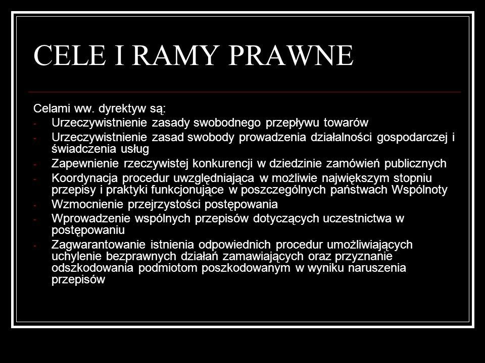 CELE I RAMY PRAWNE Pierwszą polską regulacją w dziedzinie zamówień publicznych była ustawa z dnia 10.VI.94r.