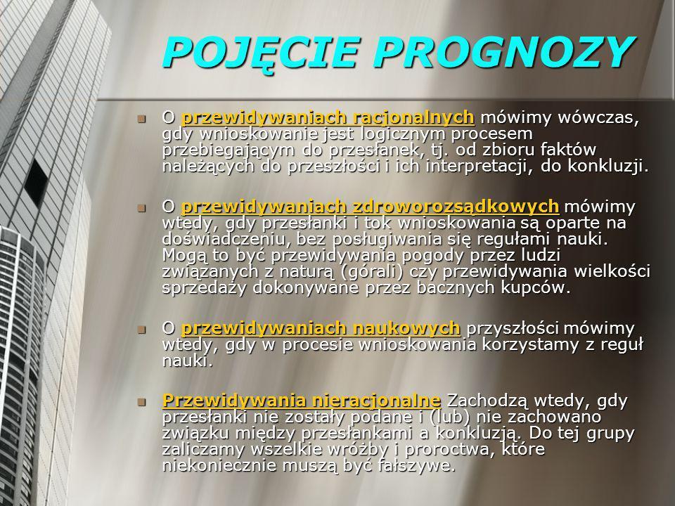 POJĘCIE PROGNOZY O przewidywaniach racjonalnych mówimy wówczas, gdy wnioskowanie jest logicznym procesem przebiegającym do przesłanek, tj. od zbioru f