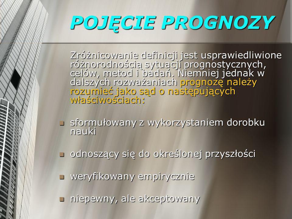 POJĘCIE PROGNOZY Prognoza odnosi się do obiektu, którym może być: kraj, region, przedsiębiorstwo, człowiek, Układ Słoneczny, Kosmos itd.