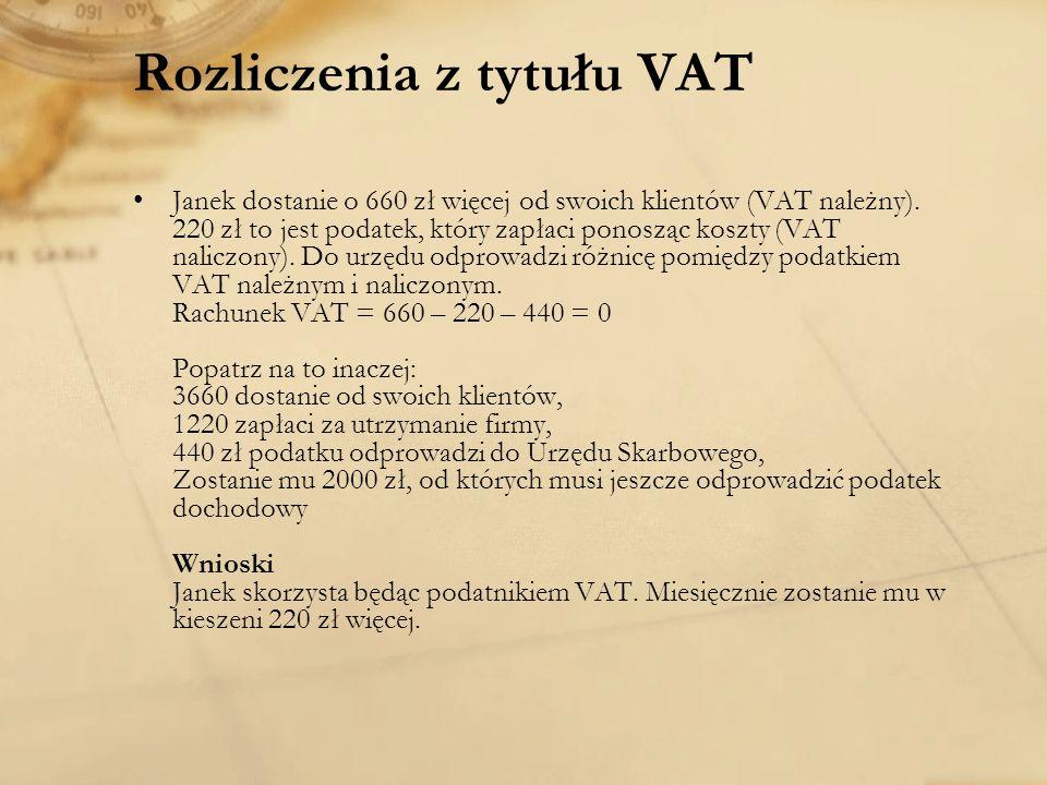 Rozliczenia z tytułu VAT Janek dostanie o 660 zł więcej od swoich klientów (VAT należny). 220 zł to jest podatek, który zapłaci ponosząc koszty (VAT n