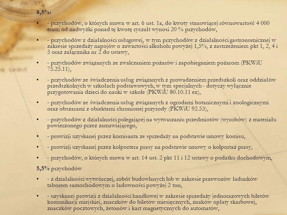 8,5%: - przychodów, o których mowa w art. 6 ust. 1a, do kwoty stanowiącej równowartość 4 000 euro; od nadwyżki ponad tę kwotę ryczałt wynosi 20 % przy