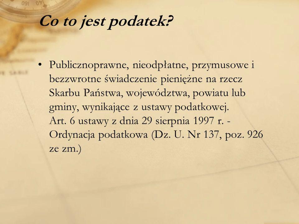 Rodzaje podatków Na polski system podatkowy składa się 11 rodzajów podatków.