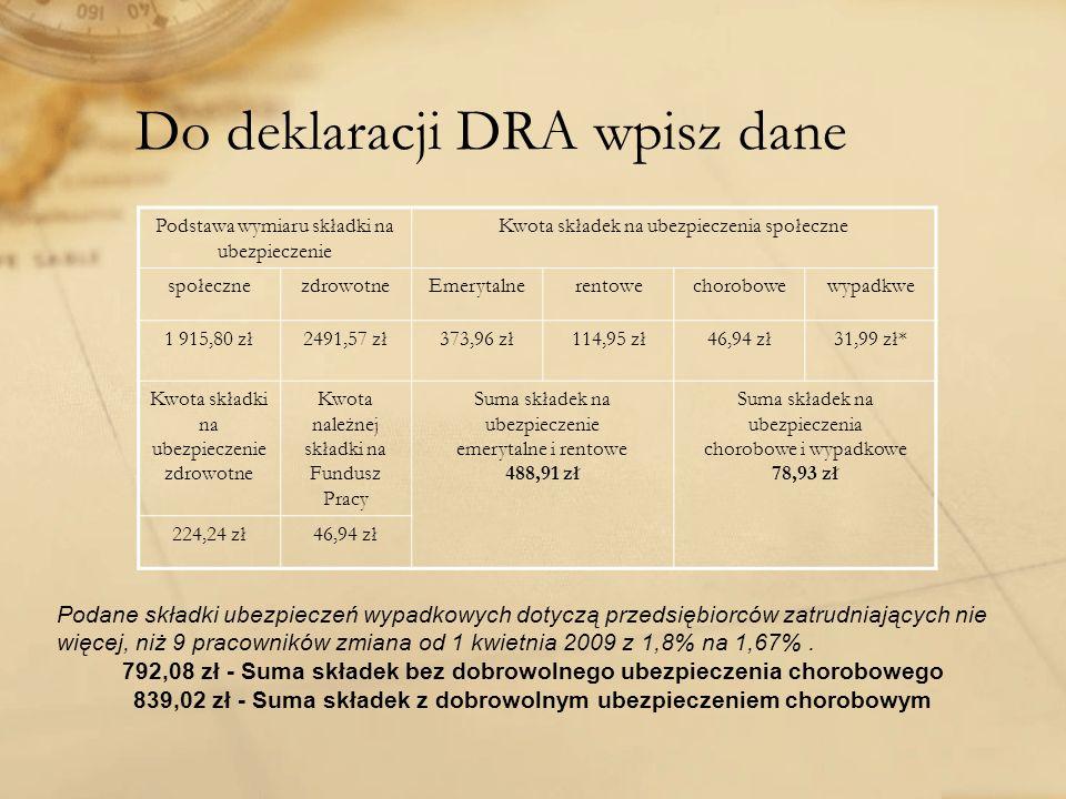 Do deklaracji DRA wpisz dane Podstawa wymiaru składki na ubezpieczenie Kwota składek na ubezpieczenia społeczne społecznezdrowotneEmerytalnerentowecho