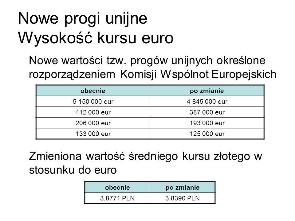Nowe progi unijne Wysokość kursu euro Nowe wartości tzw. progów unijnych określone rozporządzeniem Komisji Wspólnot Europejskich obecniepo zmianie 5 1