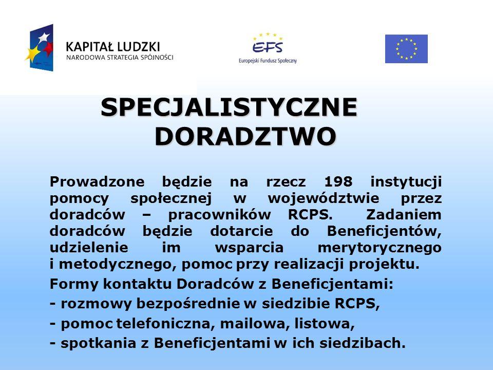SPECJALISTYCZNE DORADZTWO Prowadzone będzie na rzecz 198 instytucji pomocy społecznej w województwie przez doradców – pracowników RCPS. Zadaniem dorad