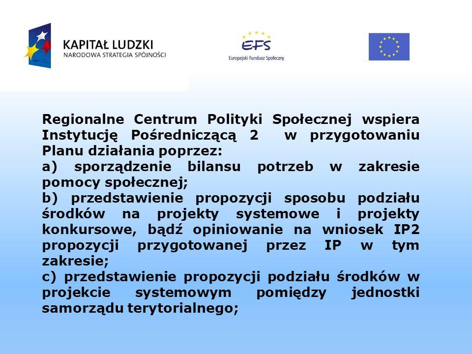 Regionalne Centrum Polityki Społecznej wspiera Instytucję Pośredniczącą 2 w przygotowaniu Planu działania poprzez: a) sporządzenie bilansu potrzeb w z