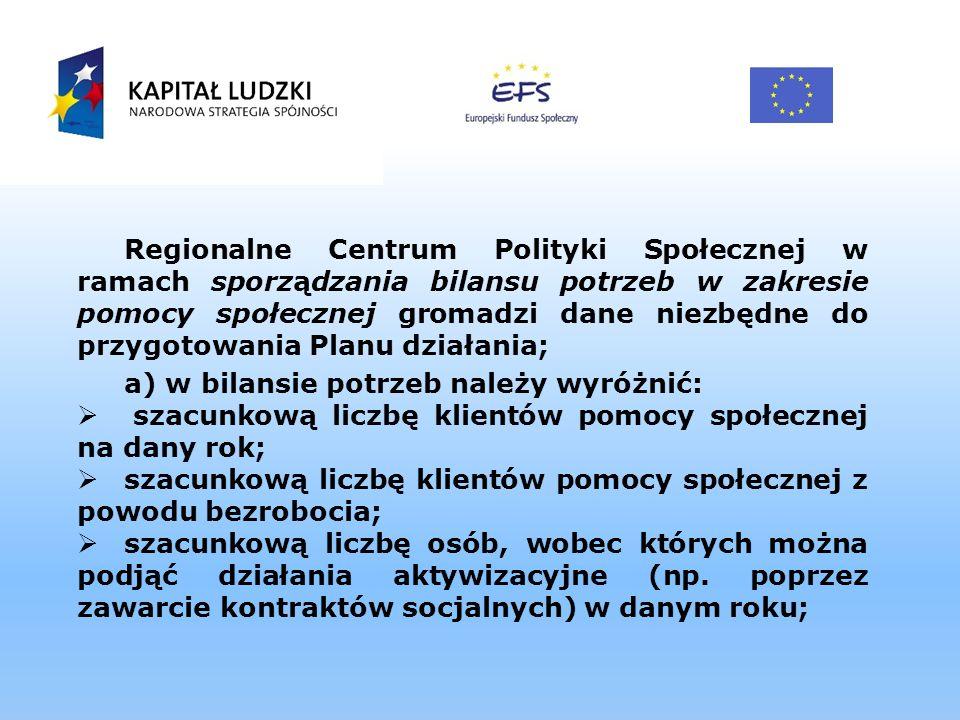 Regionalne Centrum Polityki Społecznej w ramach sporządzania bilansu potrzeb w zakresie pomocy społecznej gromadzi dane niezbędne do przygotowania Pla