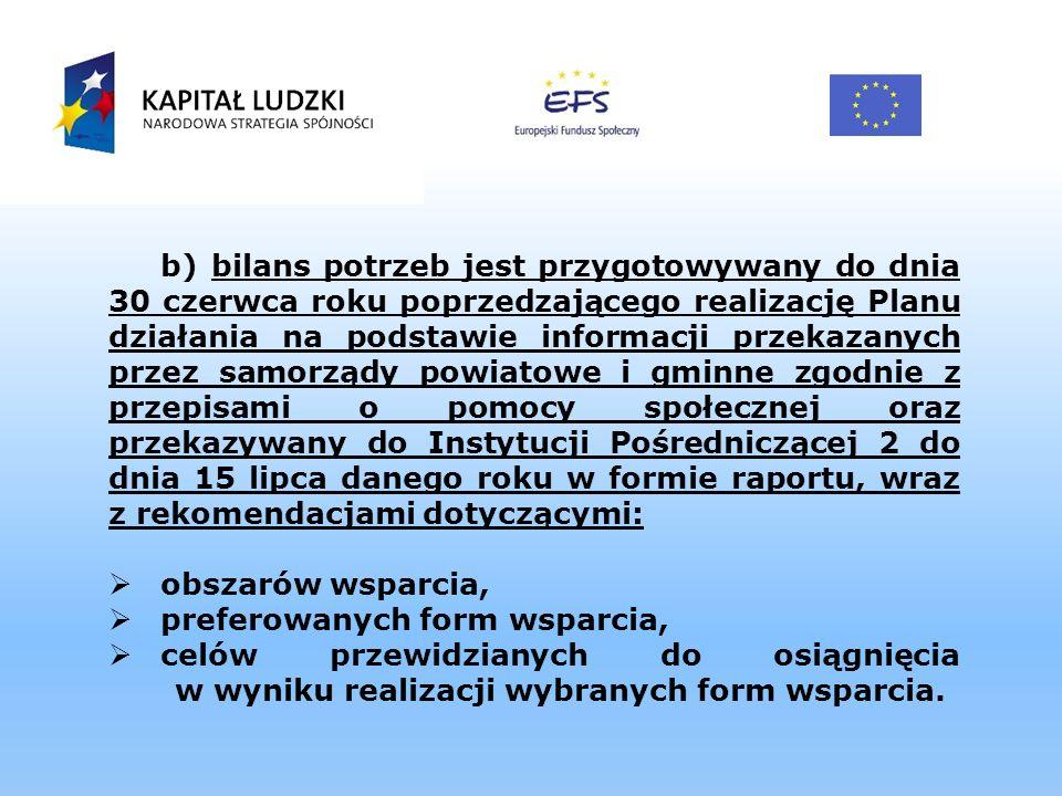 b) bilans potrzeb jest przygotowywany do dnia 30 czerwca roku poprzedzającego realizację Planu działania na podstawie informacji przekazanych przez sa