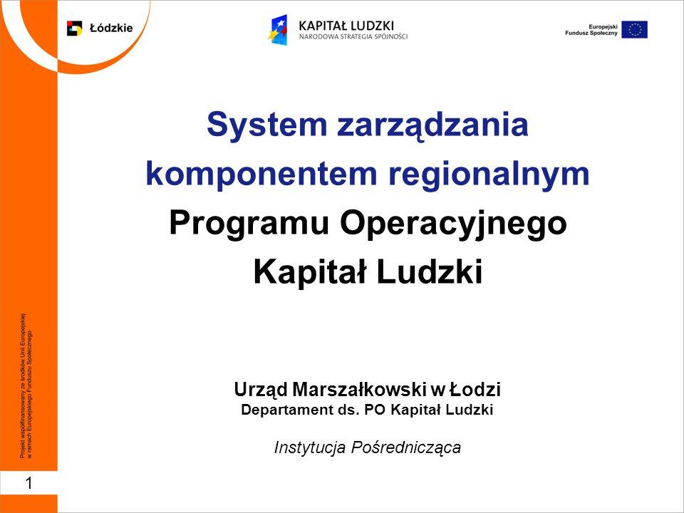1 System zarządzania komponentem regionalnym Programu Operacyjnego Kapitał Ludzki Urząd Marszałkowski w Łodzi Departament ds.
