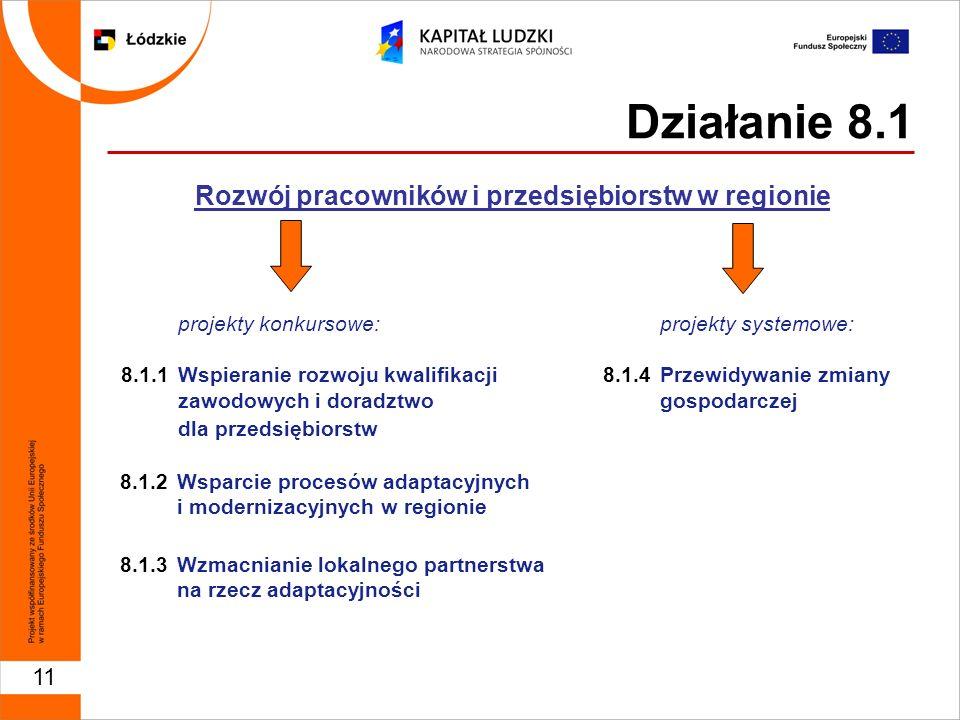 11 Działanie 8.1 Rozwój pracowników i przedsiębiorstw w regionie projekty konkursowe: 8.1.1 Wspieranie rozwoju kwalifikacji zawodowych i doradztwo dla przedsiębiorstw 8.1.2 Wsparcie procesów adaptacyjnych i modernizacyjnych w regionie 8.1.3Wzmacnianie lokalnego partnerstwa na rzecz adaptacyjności projekty systemowe: 8.1.4 Przewidywanie zmiany gospodarczej