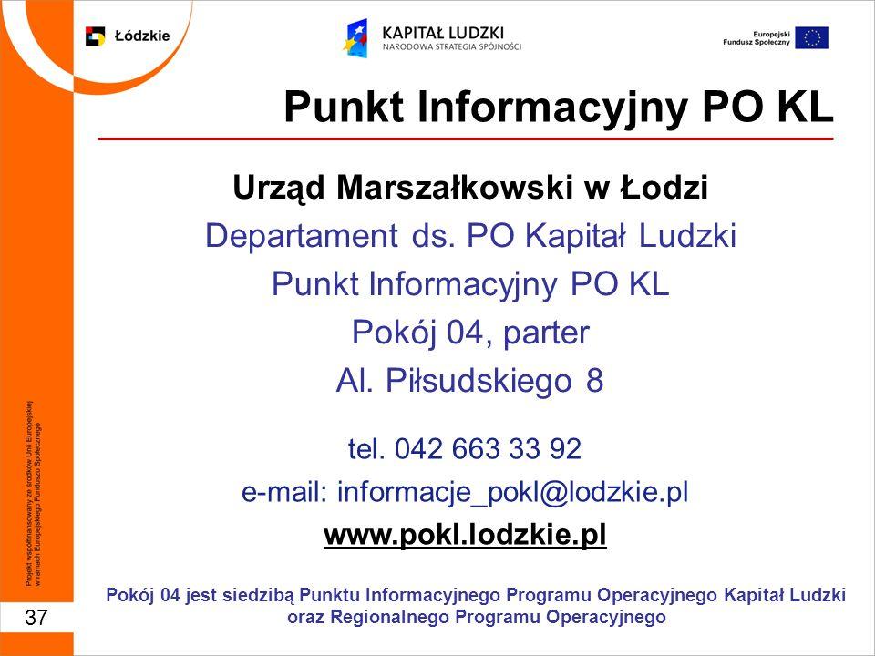 37 Punkt Informacyjny PO KL Urząd Marszałkowski w Łodzi Departament ds.