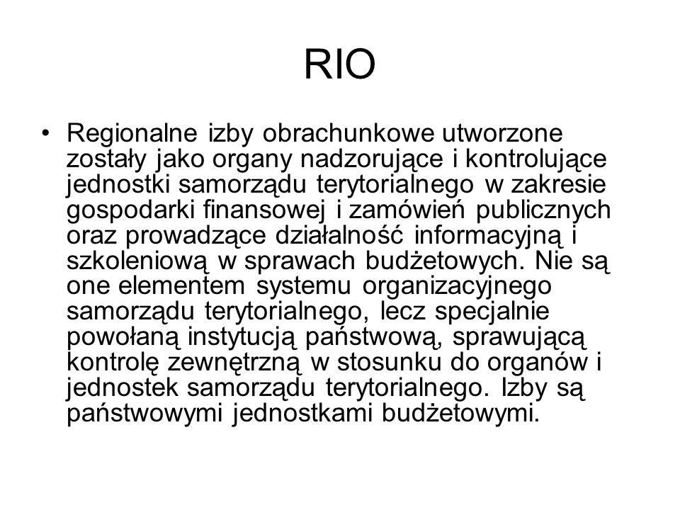 RIO - funkcje Regionalne izby obrachunkowe pełnią następujące funkcje: nadzorczą kontrolną opiniodawczą informacyjno-szkoleniową orzekającą w I instancji w sprawach o naruszenie dyscypliny finansów publicznych.