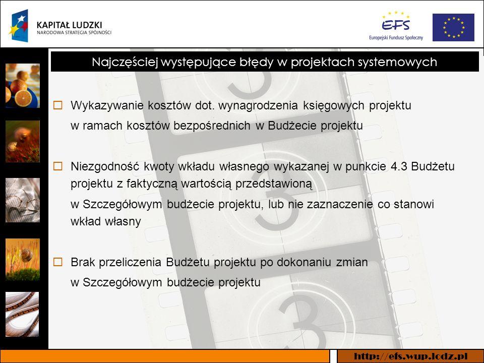 http://efs.wup.lodz.pl Najczęściej występujące błędy w projektach systemowych Wykazywanie kosztów dot.