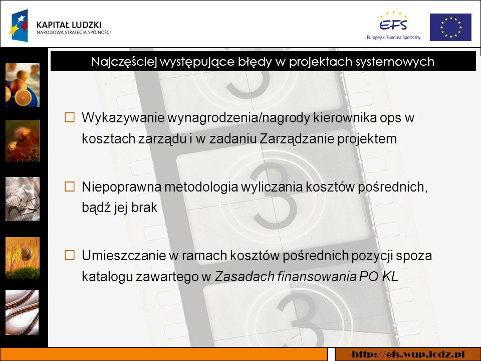 http://efs.wup.lodz.pl Najczęściej występujące błędy w projektach systemowych Wykazywanie wynagrodzenia/nagrody kierownika ops w kosztach zarządu i w zadaniu Zarządzanie projektem Niepoprawna metodologia wyliczania kosztów pośrednich, bądź jej brak Umieszczanie w ramach kosztów pośrednich pozycji spoza katalogu zawartego w Zasadach finansowania PO KL