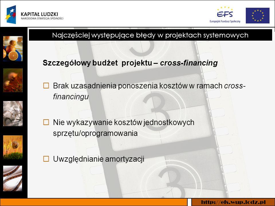 http://efs.wup.lodz.pl Najczęściej występujące błędy w projektach systemowych Szczegółowy budżet projektu – cross-financing Brak uzasadnienia ponoszenia kosztów w ramach cross- financingu Nie wykazywanie kosztów jednostkowych sprzętu/oprogramowania Uwzględnianie amortyzacji