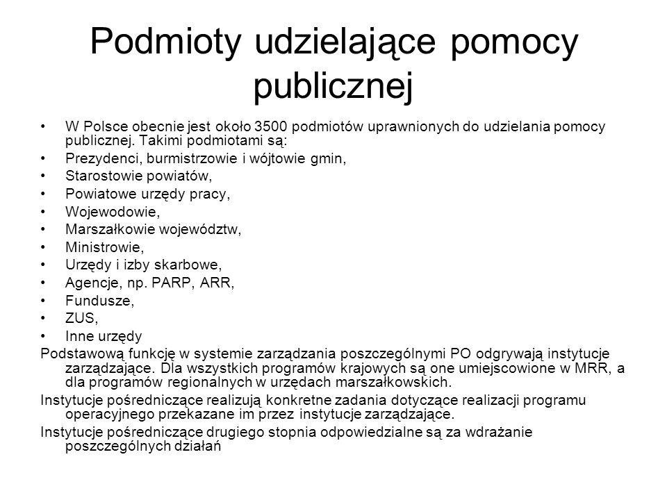 Podmioty udzielające pomocy publicznej W Polsce obecnie jest około 3500 podmiotów uprawnionych do udzielania pomocy publicznej. Takimi podmiotami są: