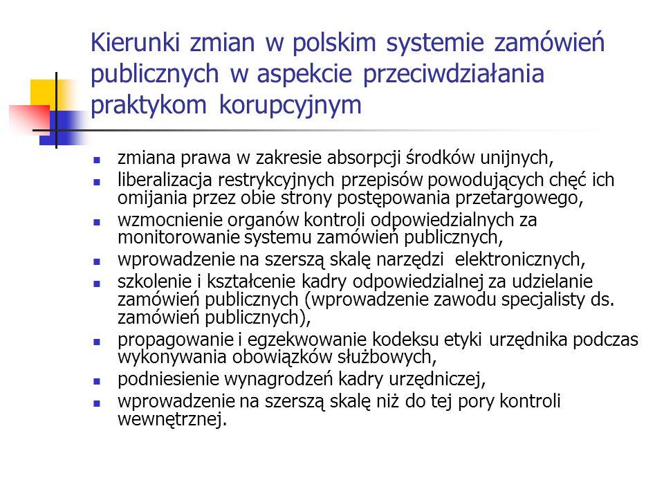 Kierunki zmian w polskim systemie zamówień publicznych w aspekcie przeciwdziałania praktykom korupcyjnym zmiana prawa w zakresie absorpcji środków uni