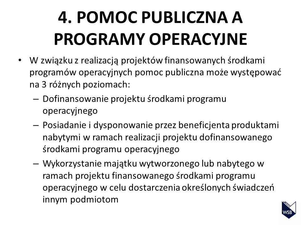 4. POMOC PUBLICZNA A PROGRAMY OPERACYJNE W związku z realizacją projektów finansowanych środkami programów operacyjnych pomoc publiczna może występowa
