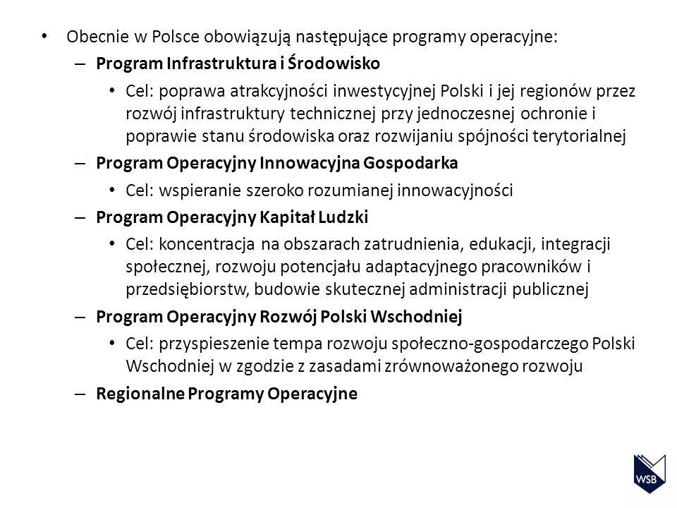 Obecnie w Polsce obowiązują następujące programy operacyjne: – Program Infrastruktura i Środowisko Cel: poprawa atrakcyjności inwestycyjnej Polski i j