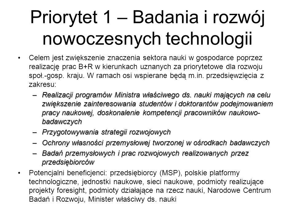 Priorytet 1 – Badania i rozwój nowoczesnych technologii Celem jest zwiększenie znaczenia sektora nauki w gospodarce poprzez realizację prac B+R w kier