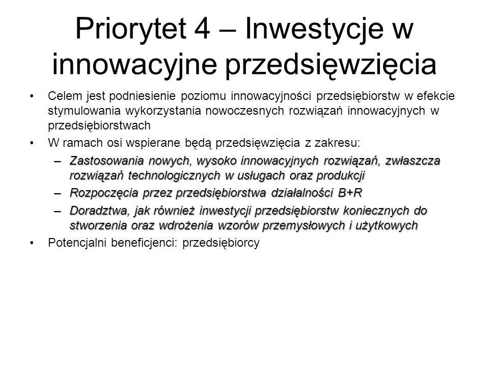 Priorytet 4 – Inwestycje w innowacyjne przedsięwzięcia Celem jest podniesienie poziomu innowacyjności przedsiębiorstw w efekcie stymulowania wykorzyst
