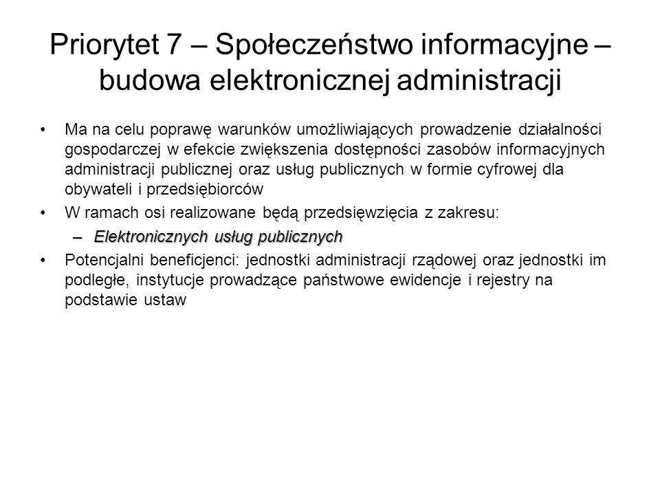 Priorytet 7 – Społeczeństwo informacyjne – budowa elektronicznej administracji Ma na celu poprawę warunków umożliwiających prowadzenie działalności go
