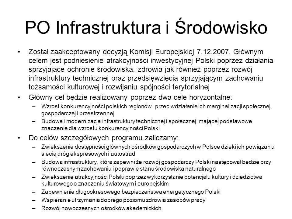 PO Infrastruktura i Środowisko Został zaakceptowany decyzją Komisji Europejskiej 7.12.2007. Głównym celem jest podniesienie atrakcyjności inwestycyjne