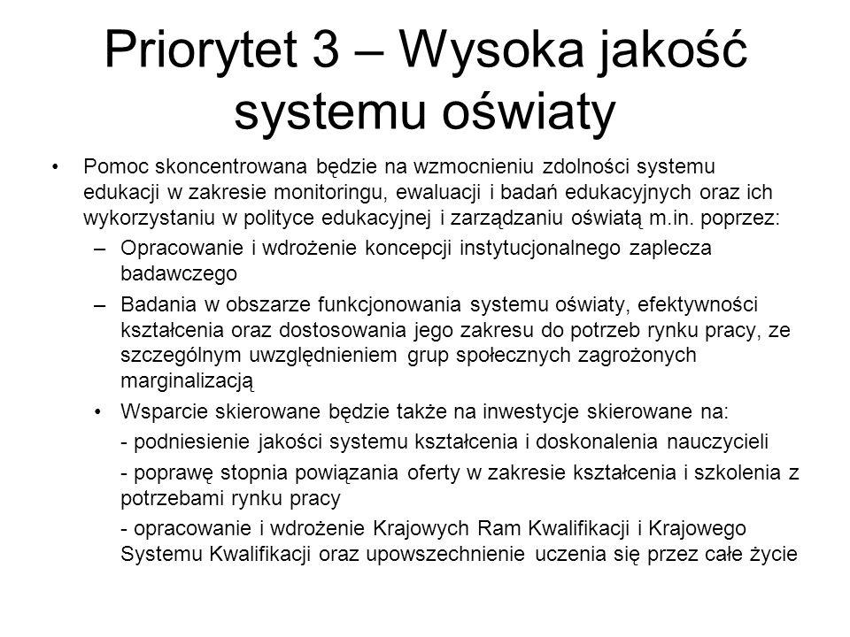 Priorytet 3 – Wysoka jakość systemu oświaty Pomoc skoncentrowana będzie na wzmocnieniu zdolności systemu edukacji w zakresie monitoringu, ewaluacji i