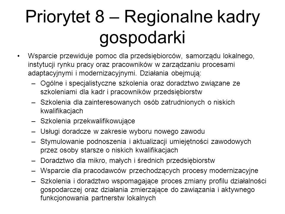 Priorytet 8 – Regionalne kadry gospodarki Wsparcie przewiduje pomoc dla przedsiębiorców, samorządu lokalnego, instytucji rynku pracy oraz pracowników