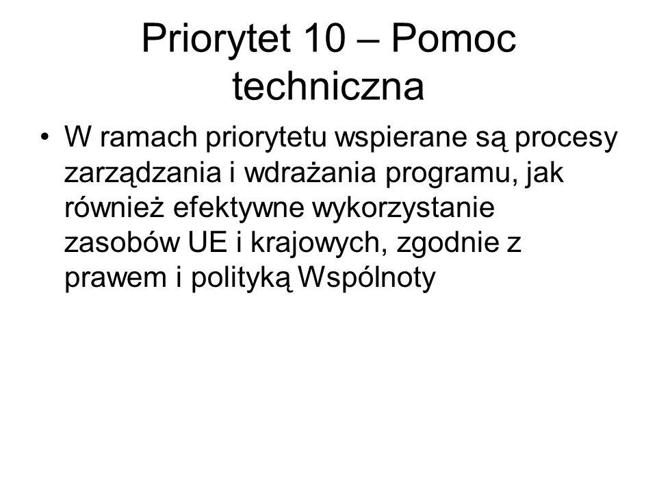 Priorytet 10 – Pomoc techniczna W ramach priorytetu wspierane są procesy zarządzania i wdrażania programu, jak również efektywne wykorzystanie zasobów