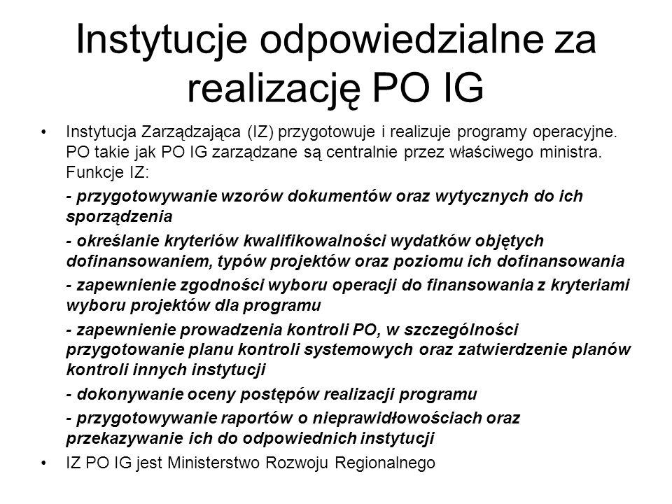 Instytucje odpowiedzialne za realizację PO IG Instytucja Zarządzająca (IZ) przygotowuje i realizuje programy operacyjne. PO takie jak PO IG zarządzane