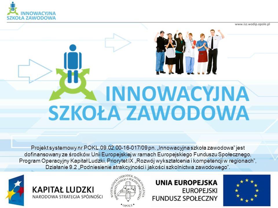 Projekt systemowy nr POKL.09.02.00-16-017/09 pn. Innowacyjna szkoła zawodowa jest dofinansowany ze środków Unii Europejskiej w ramach Europejskiego Fu